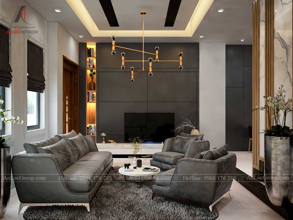 Thiết kế nội thất biệt thự Lakeview City - Phòng khách 1