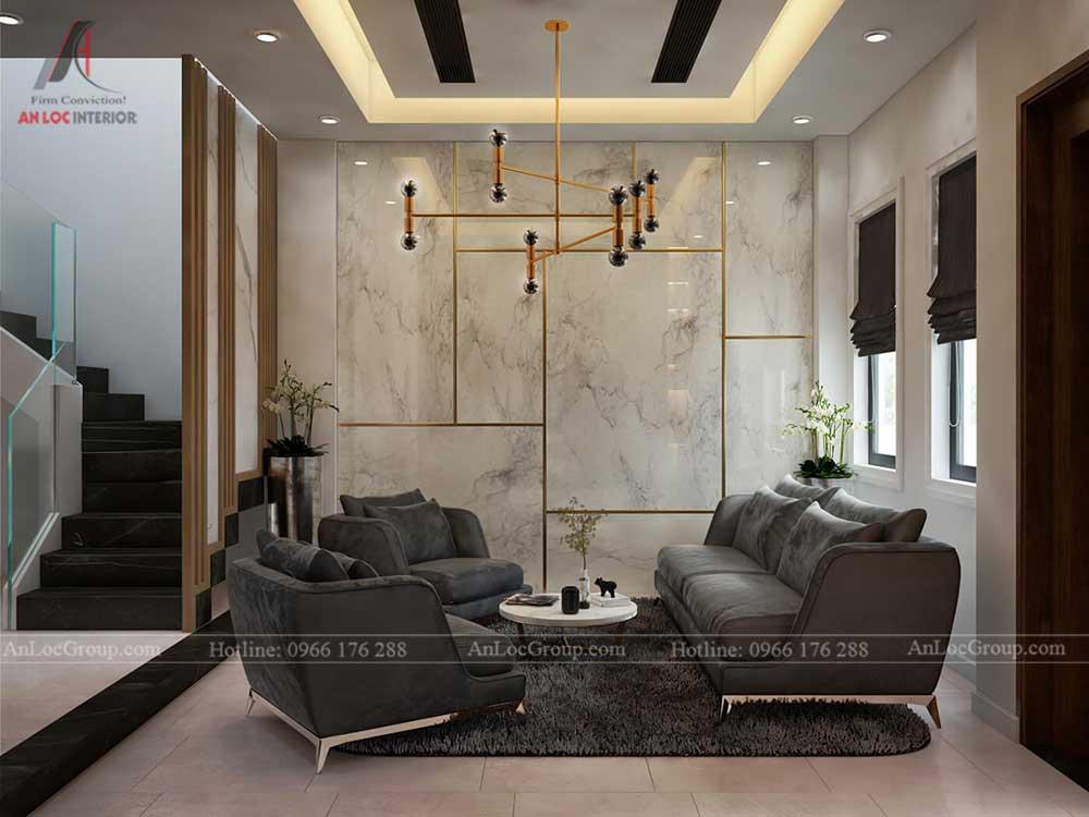 Thiết kế nội thất biệt thự Lakeview City - Phòng khách 3