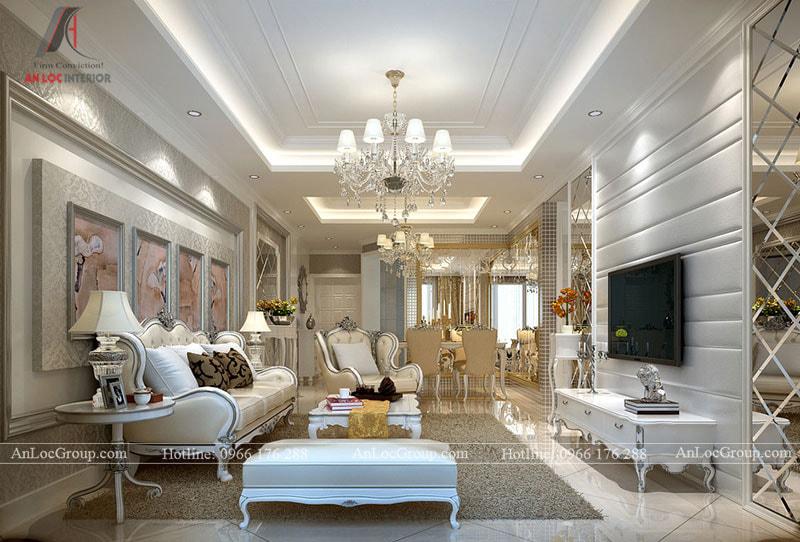 Phong cách tân cổ điển trong thiết kế nội thất sử dụng các màu sắc trắng, kem làm chủ đạo