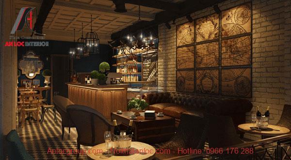 trang trí quán cafe theo phong cách vintage