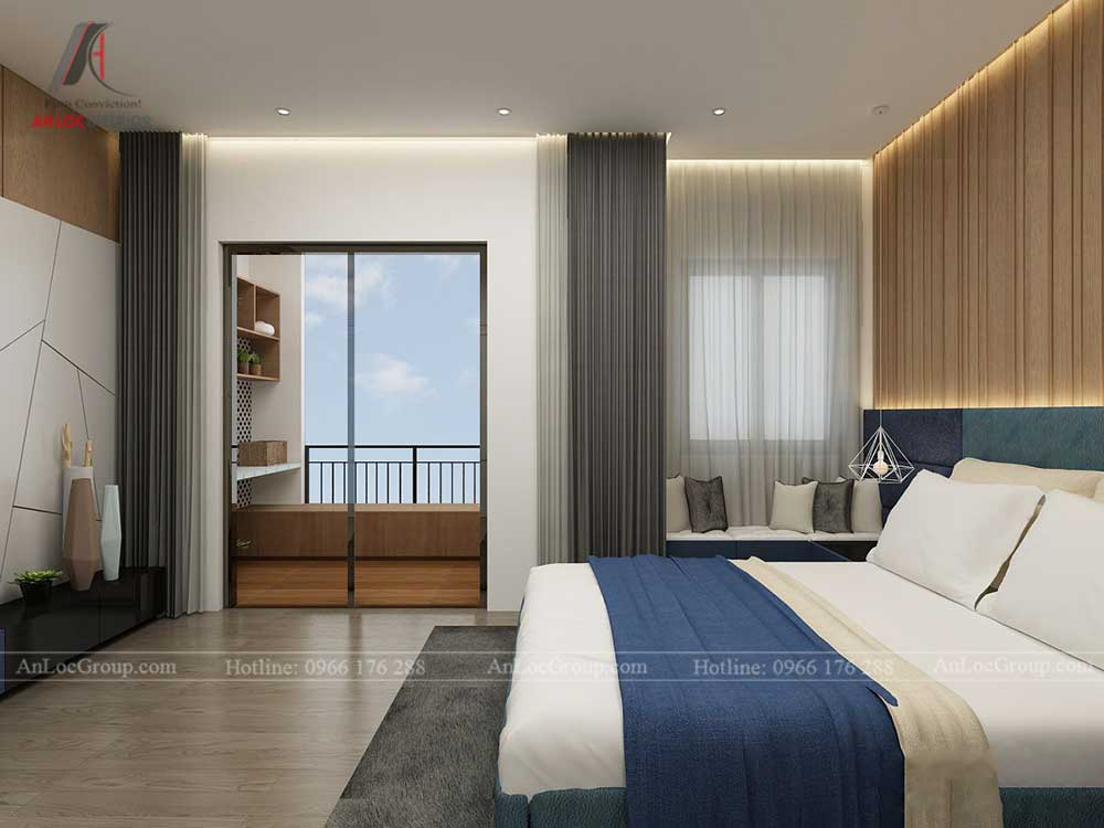 không gian phòng ngủ master sang trọng với ban công rộng rãi
