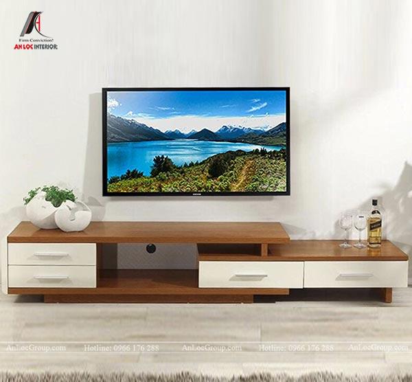 Kệ tivi hiện đại với gỗ công nghiệp màu nâu và trắng