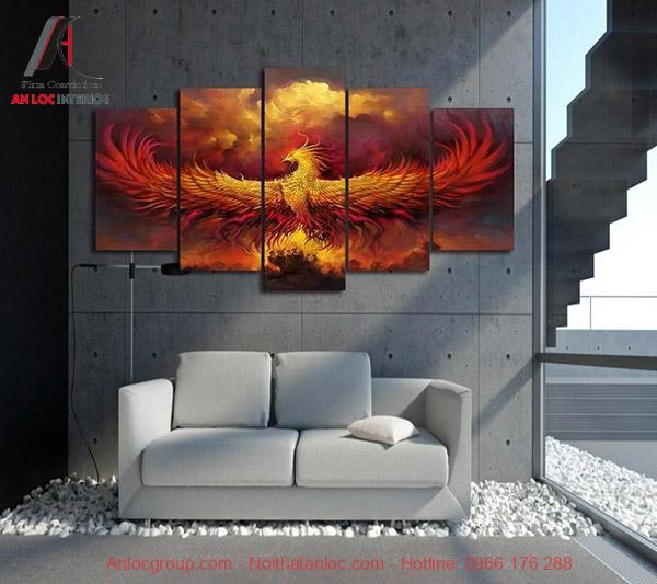 Phong thuy tranh treo phong khach - tranh dai bang tung canh