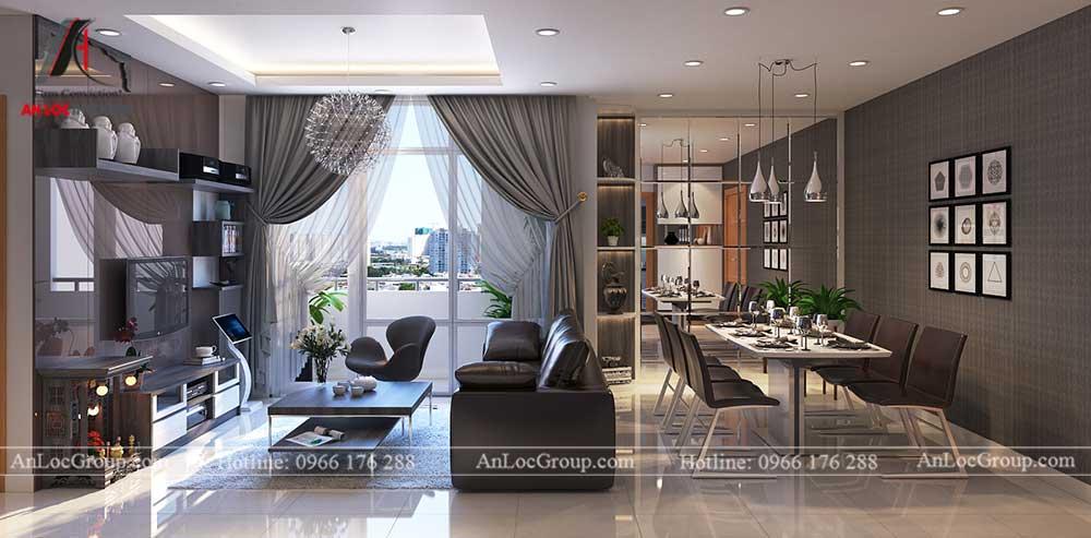 Thiết kế căn hộ 76m2 tại chung cư Vinhomes Sky Lake Phạm Hùng - phòng khách 1