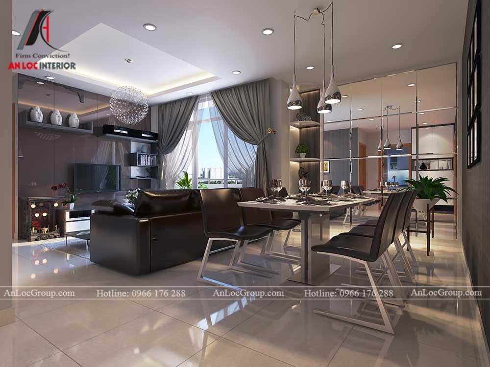 Thiết kế căn hộ 76m2 tại chung cư Vinhomes Sky Lake Phạm Hùng - phòng khách 2