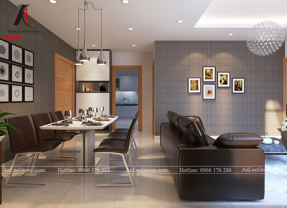 Thiết kế căn hộ 76m2 tại chung cư Vinhomes Sky Lake Phạm Hùng - phòng khách 3
