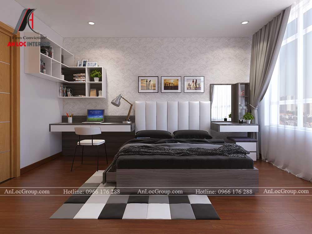 Thiết kế căn hộ 76m2 tại chung cư Vinhomes Sky Lake Phạm Hùng - phòng ngủ 1