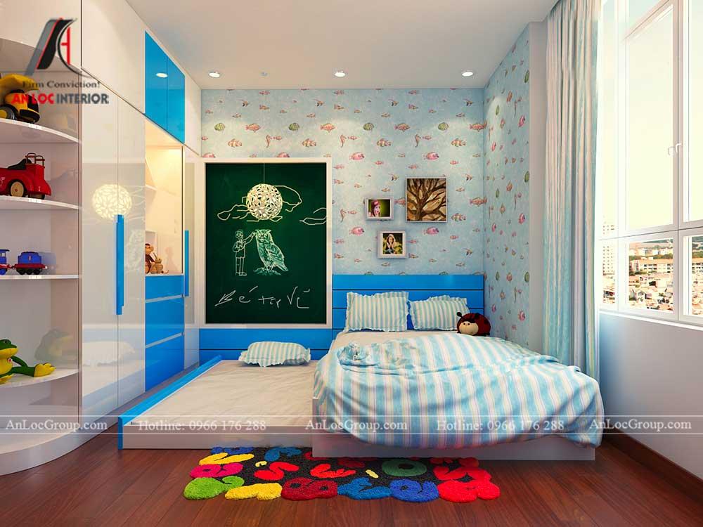 Thiết kế căn hộ 76m2 tại chung cư Vinhomes Sky Lake Phạm Hùng - phòng ngủ trẻ em 2