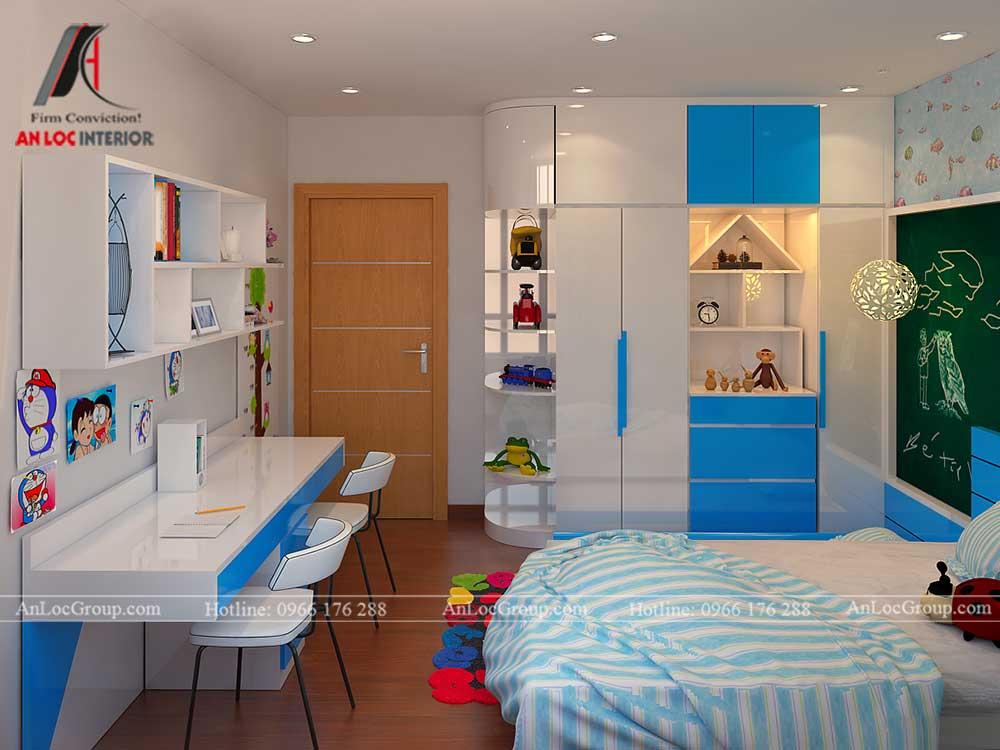 Thiết kế căn hộ 76m2 tại chung cư Vinhomes Sky Lake Phạm Hùng - phòng ngủ trẻ em 3