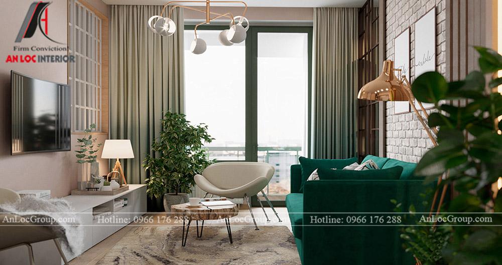 Thiết kế căn hộ 52m2 tại chung cư Sunshine Garden 34 Vĩnh Tuy - phòng khách 2