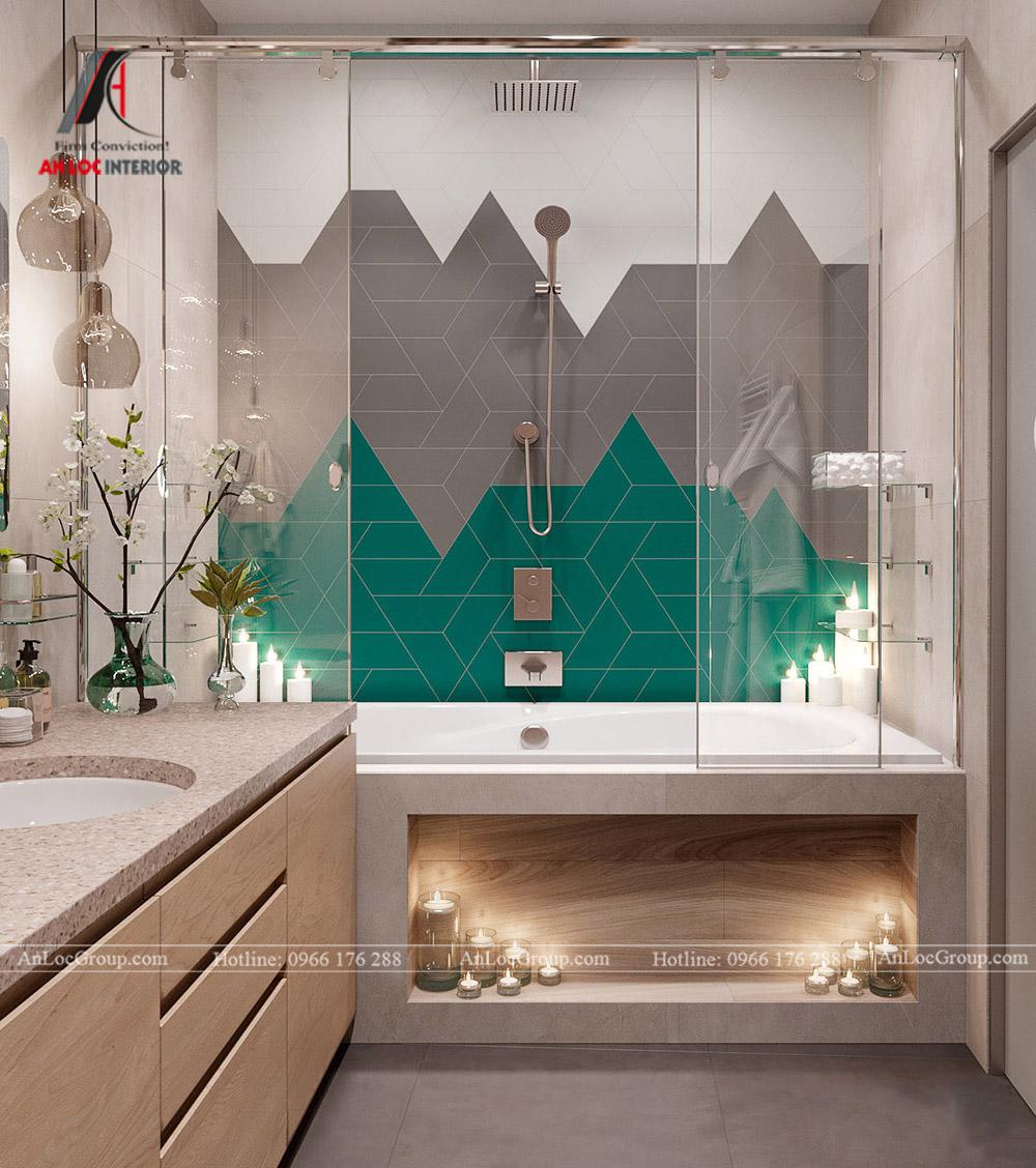 Thiết kế căn hộ 52m2 tại chung cư Sunshine Garden 34 Vĩnh Tuy - phòng vệ sinh 2