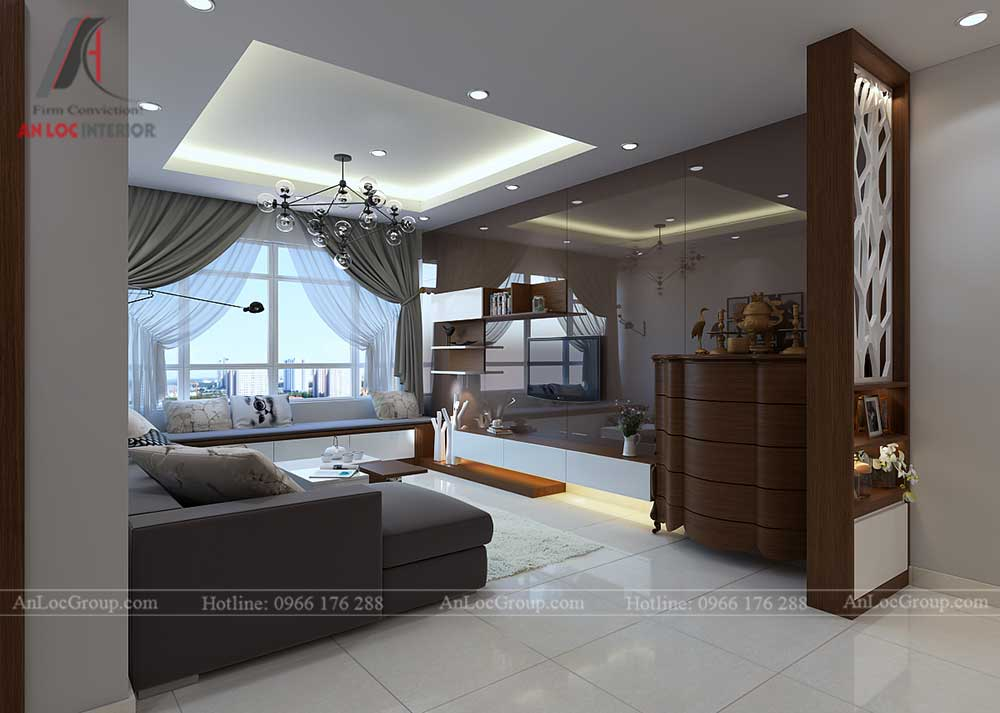 Thiết kế nội thất phòng khách chung cư vinhomes green bay 2
