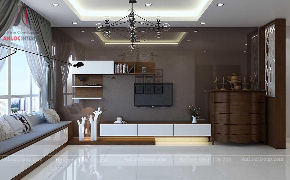 Thiết kế nội thất phòng khách chung cư vinhomes green bay 5