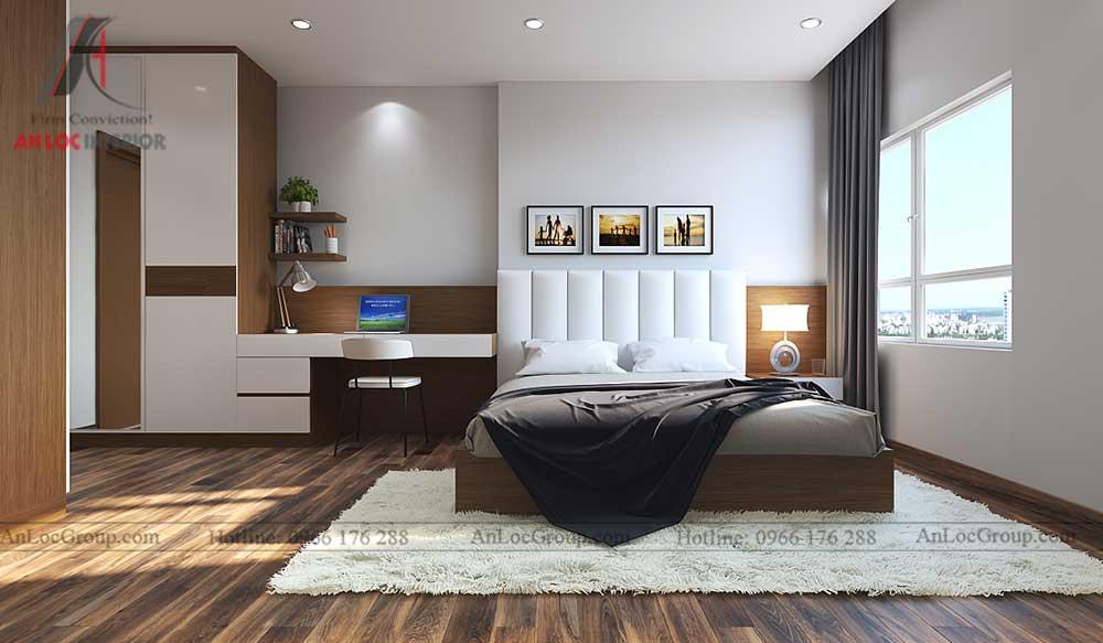 Thiết kế nội thất phòng ngủ chung cư vinhomes green bay 1