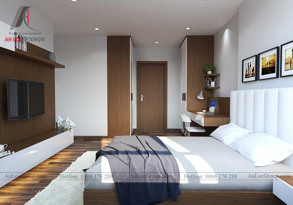 Thiết kế nội thất phòng ngủ chung cư vinhomes green bay 3
