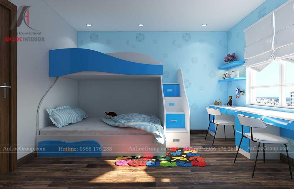 Thiết kế nội thất phòng ngủ trẻ em chung cư vinhomes green bay 2
