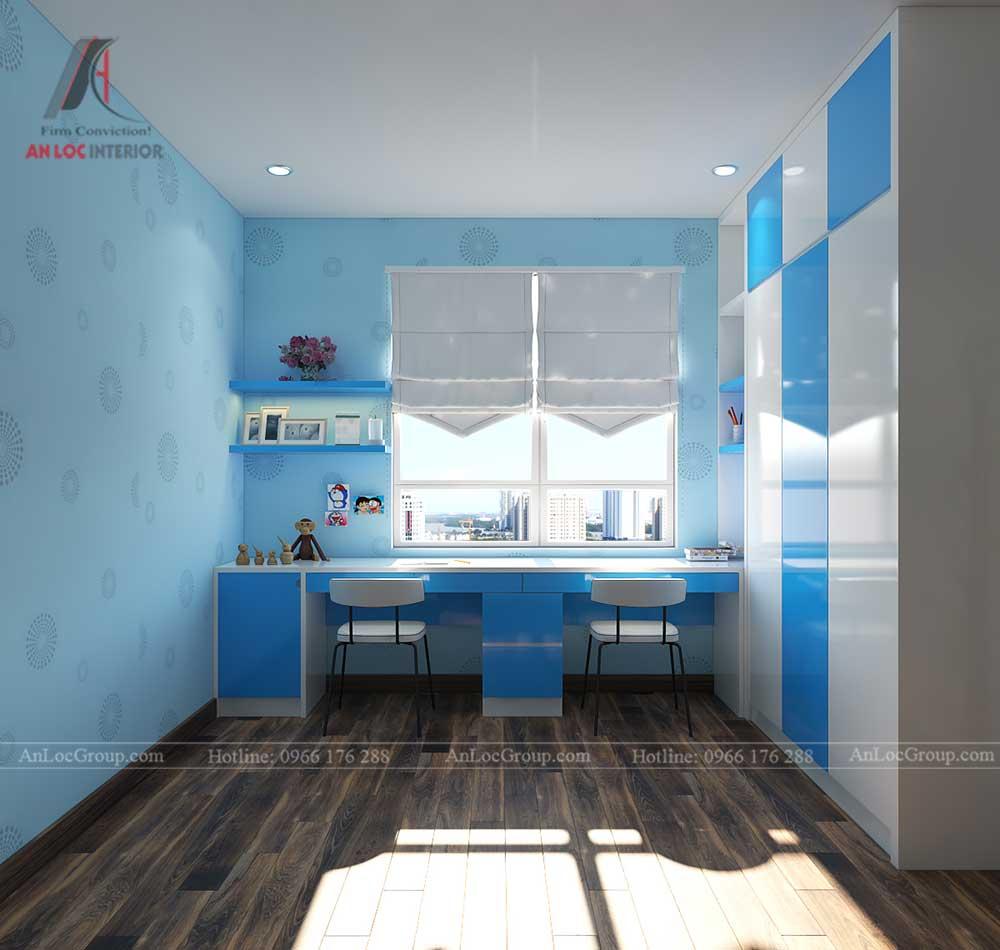 Thiết kế nội thất phòng ngủ trẻ em chung cư vinhomes green bay 3