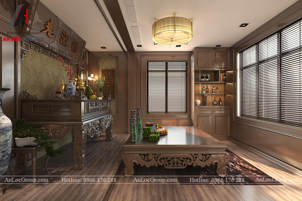 thiết kế nội thất nhà phố đẹp - phòng thờ 3
