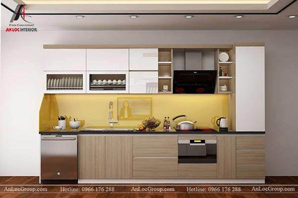 Tủ bếp hiện đại với gỗ công nghiệp chống ẩm