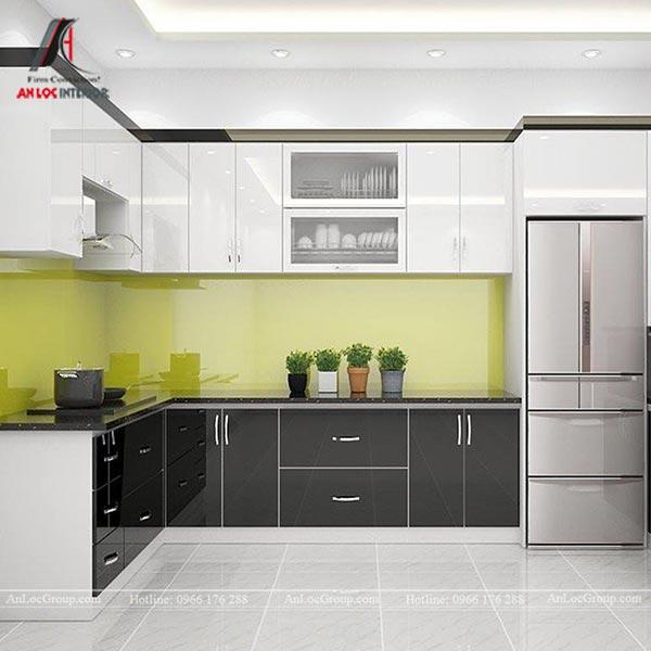 Tủ bếp sử dụng gỗ công nghiệp với màu trắng và đen