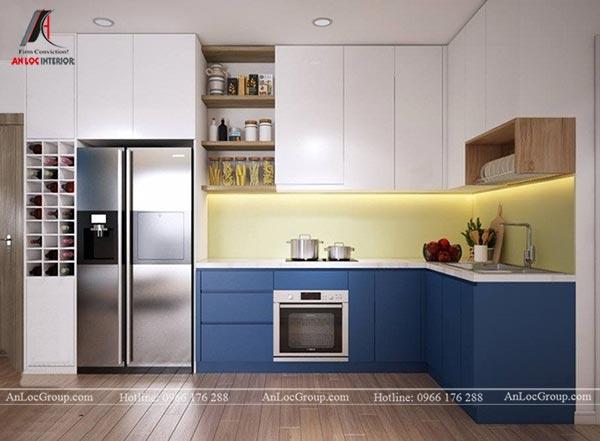 Tủ bếp âm tường màu xanh dương và trắng