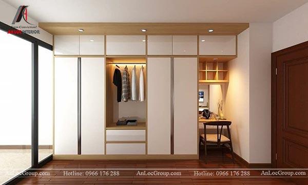 Tủ quần áo gỗ âm tường màu trắng