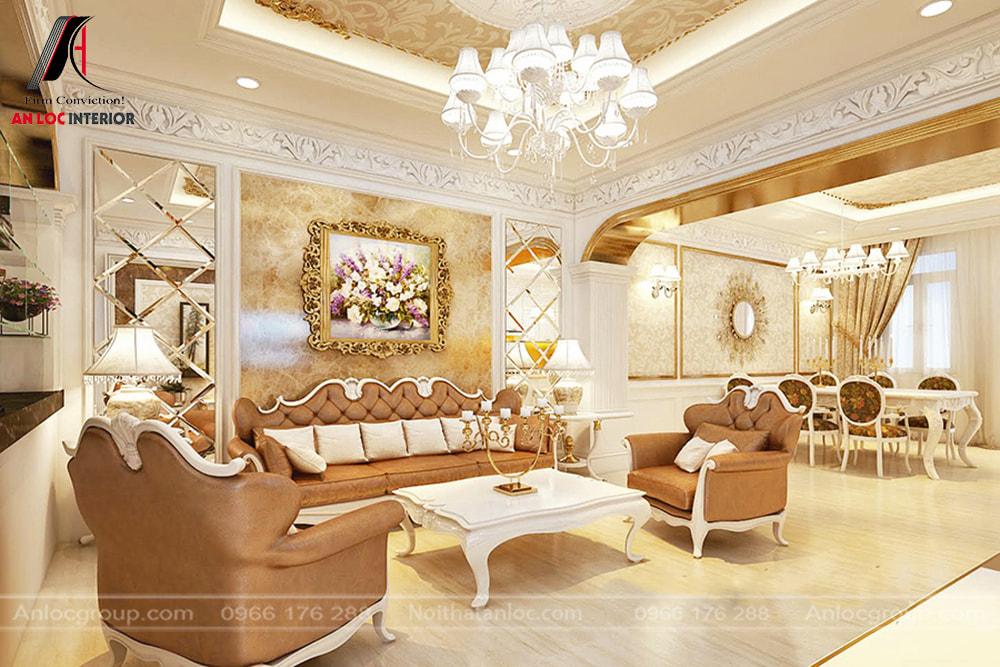 Anlocgroup - thiết kế phòng khách liên thông nhà bếp biệt thự Vinhomes Riverside 2