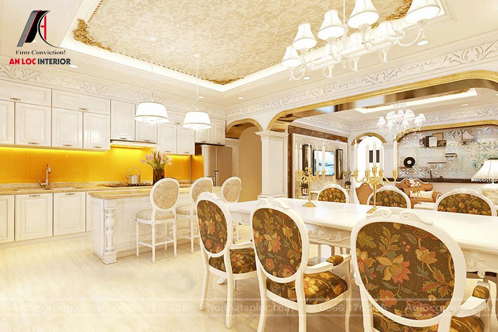 Anlocgroup - thiết kế phòng khách liên thông nhà bếp biệt thự Vinhomes Riverside 3