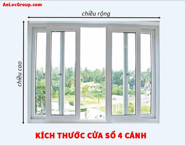 Kích thước cửa sổ 4 cánh