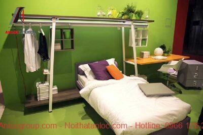 thiết kế nội thất phòng ngủ nhỏ 10m2 với màu đơn sắc