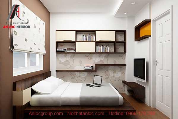 Thiết kế nội thất phòng ngủ nhỏ 10m2 phong cách tối giản
