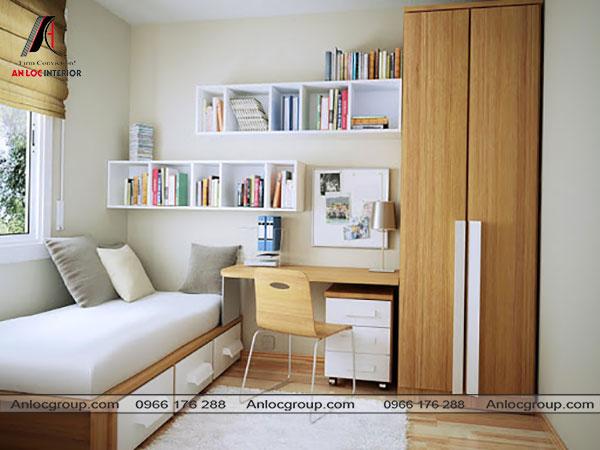 Mẫu 1 - Phòng ngủ nhỏ 10m2 có bàn làm việc và tủ quần áo
