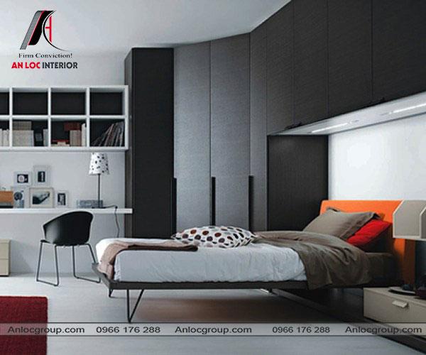 Mẫu 10 - Phòng ngủ nhỏ sử dụng giường ngủ có thể gấp gọn