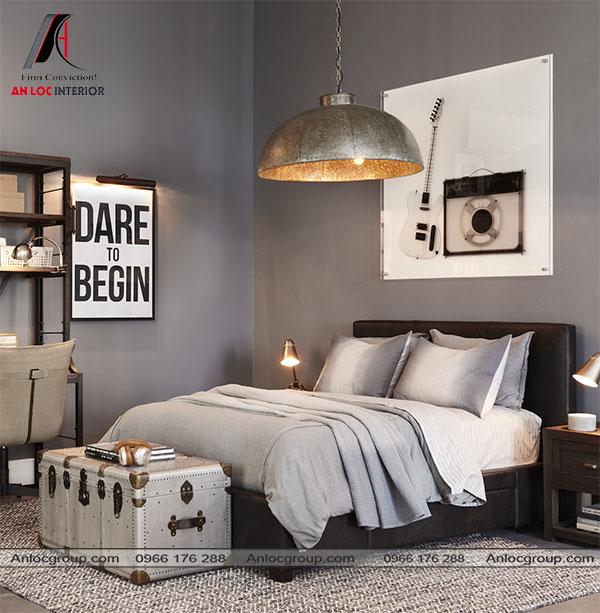 Mẫu 11 - Điểm nhấn của phòng ngủ màu xám nằm trên chiếc đèn cỡ lớn phía trên