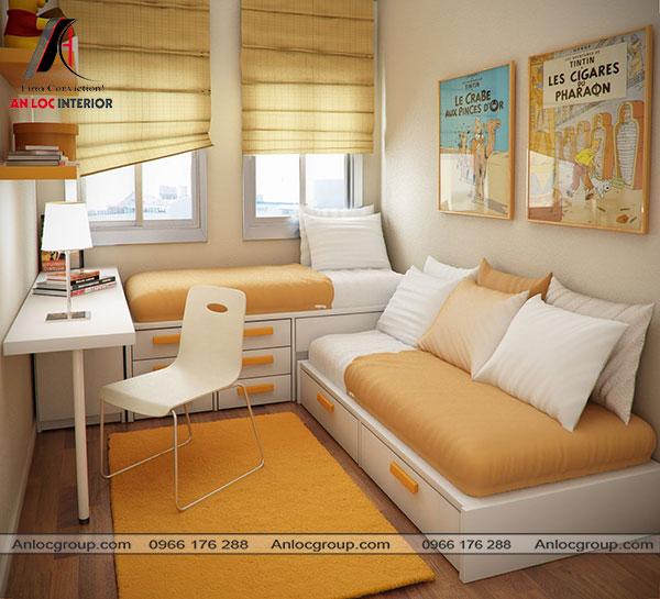 Mẫu 3 - Phòng ngủ nhỏ màu cam đất kết hợp sử dụng giường ngủ có tủ chứa đồ bên dưới