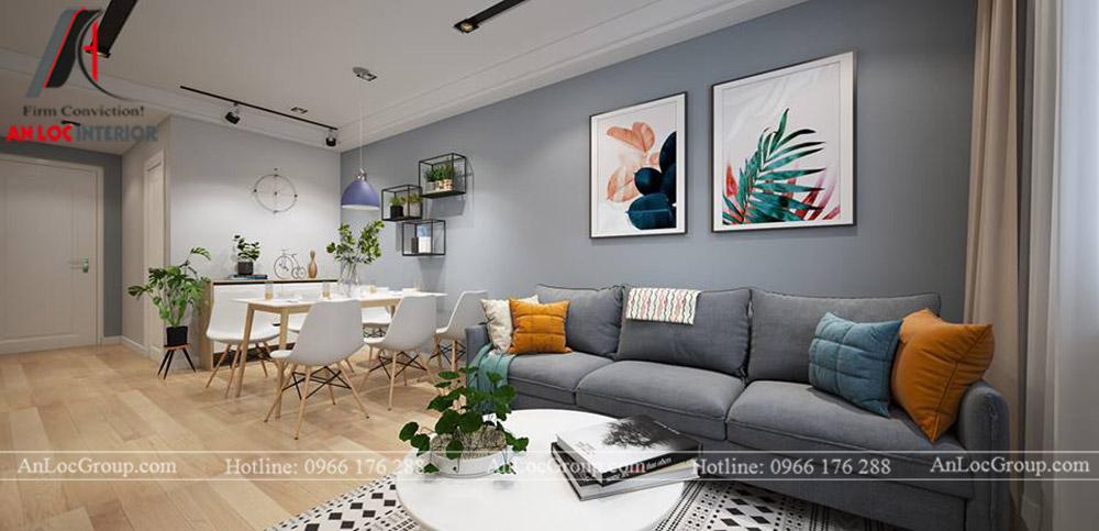 Nội thất chung cư 68m2 tại The Grand Manhattan - Phòng khách 1