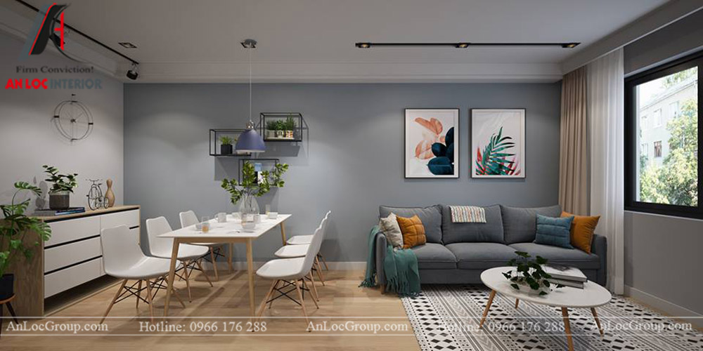 Nội thất chung cư 68m2 tại The Grand Manhattan - Phòng khách 3