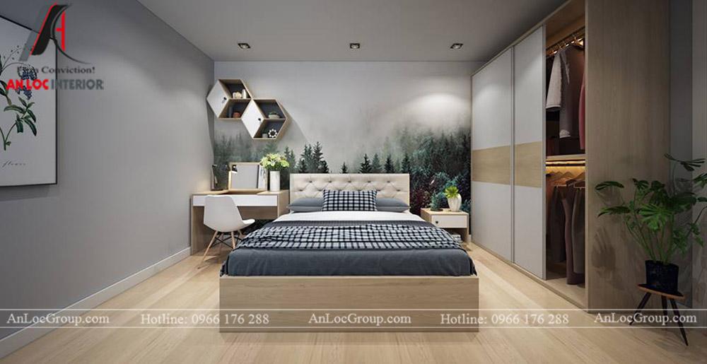 Nội thất chung cư 68m2 tại The Grand Manhattan - Phòng ngủ 1