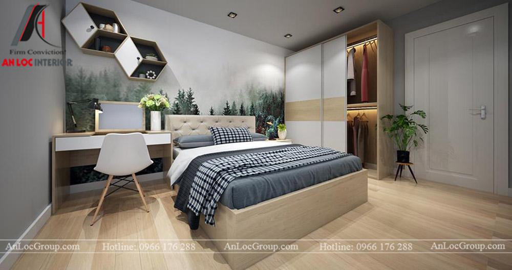 Nội thất chung cư 68m2 tại The Grand Manhattan - Phòng ngủ 2