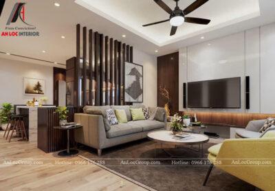 Nội Thất An Lộc - Thiết kế chung cư Hoàng Thành Tower 77m2 - Phòng khách 1