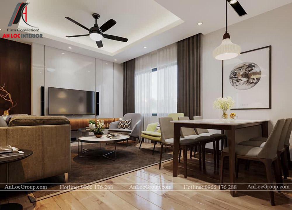 Nội Thất An Lộc - Thiết kế chung cư Hoàng Thành Tower 77m2 - Phòng khách 2