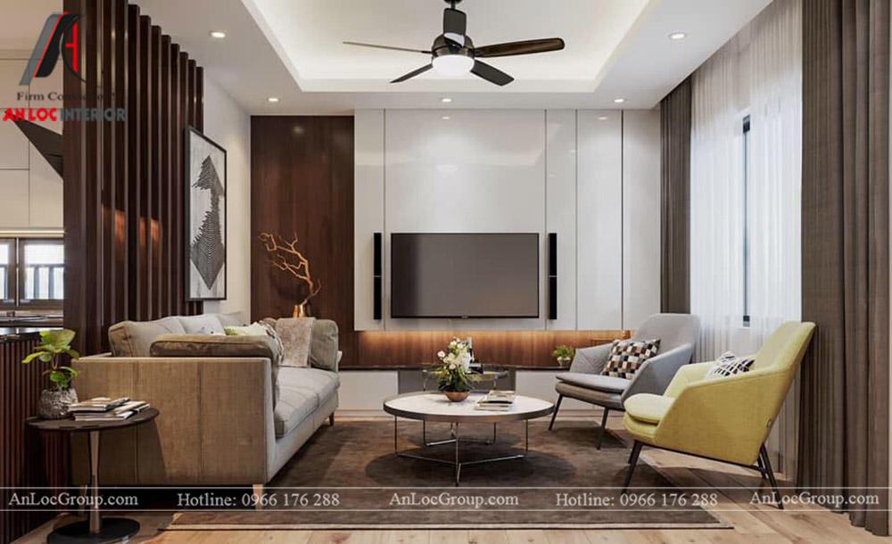 Nội Thất An Lộc - Thiết kế chung cư Hoàng Thành Tower 77m2 - Phòng khách 3