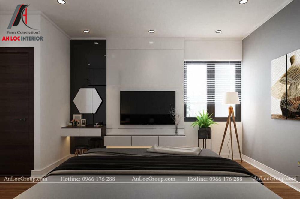 Nội Thất An Lộc - Thiết kế chung cư Hoàng Thành Tower 77m2 - Phòng ngủ 2