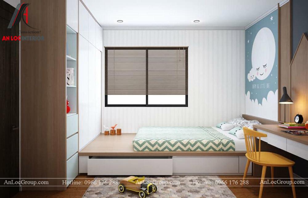 Nội Thất An Lộc - Thiết kế chung cư Hoàng Thành Tower 77m2 - Phòng ngủ con 1
