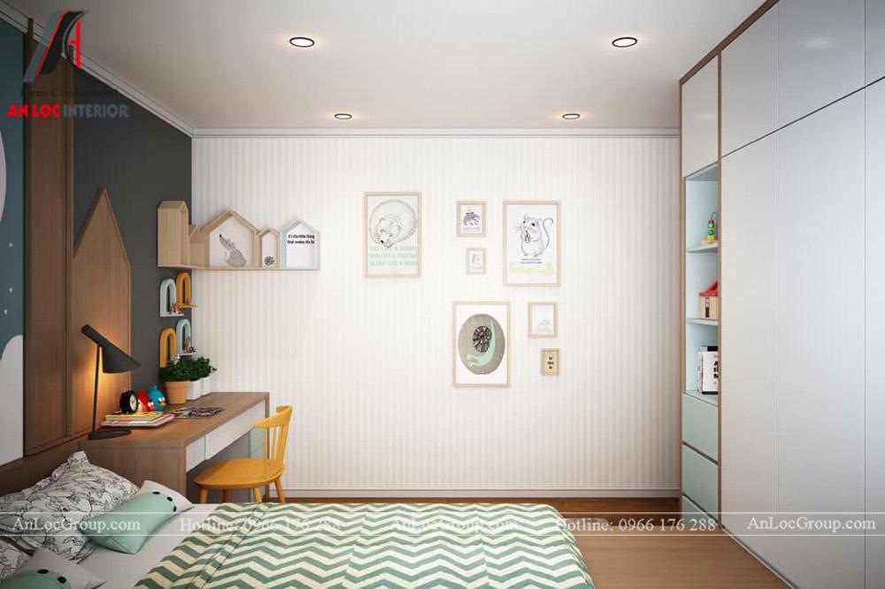 Nội Thất An Lộc - Thiết kế chung cư Hoàng Thành Tower 77m2 - Phòng ngủ con 2