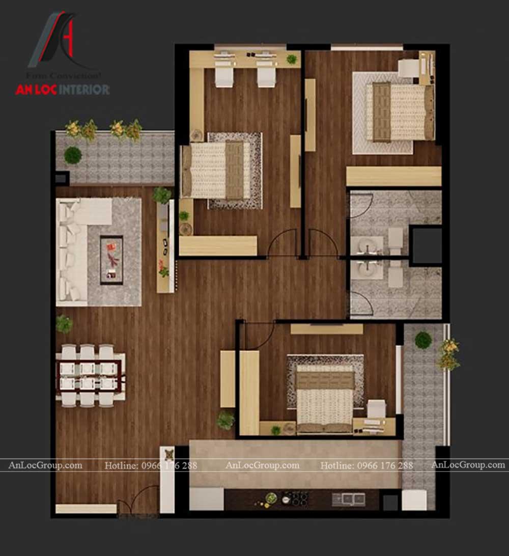 Bản vẽ thiết kế nội thất chung cư Việt Đức Complex