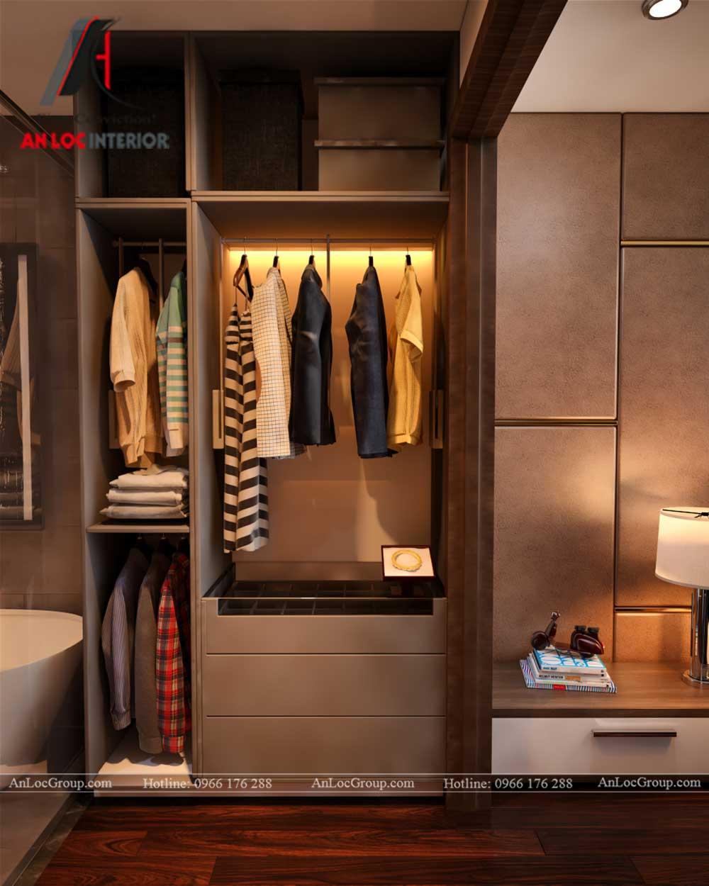 Thiết kế nội thất chung cư Việt Đức Complex phòng thay đồ 2