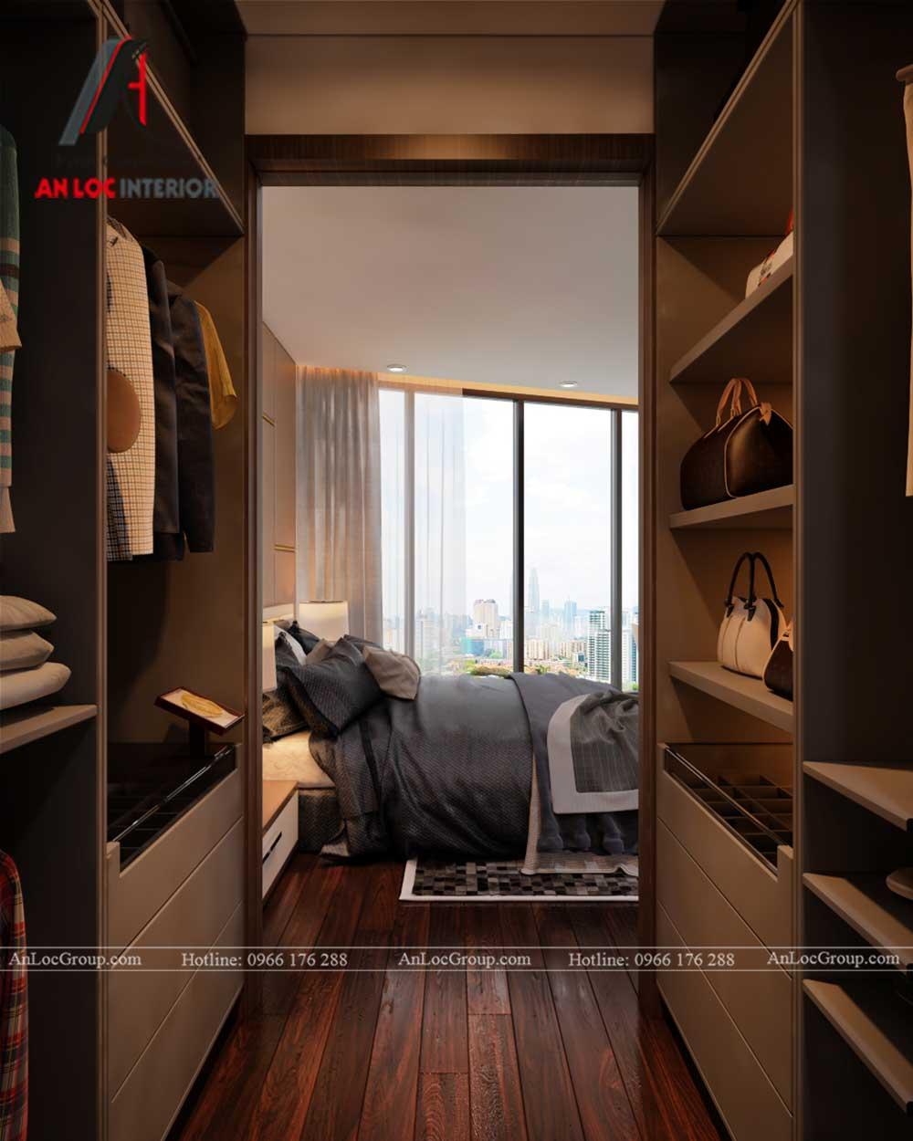 Thiết kế nội thất chung cư Việt Đức Complex phòng thay đồ 3