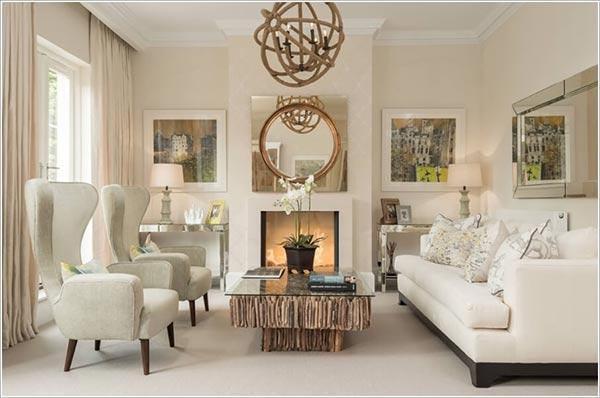Gương trang trí phòng khách tạo điểm nhấn