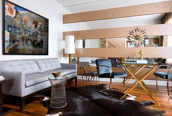 Gương treo tường phòng khách theo chiều ngang